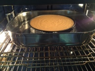 Pumpkin Cheesecake in Oven Ready to Bake